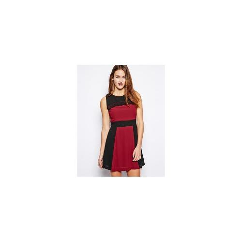 Wal G Block Stripe Dress - Bordo