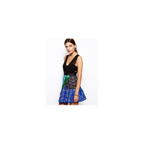 Self Portrait Peplum Dress With Structured Bodice and Contrast Lace Skirt