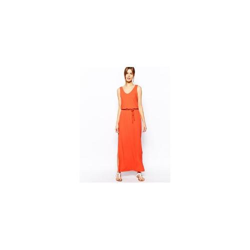 Warehouse Jersey V Neck Maxi Dress - Orange