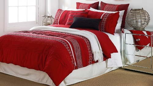 Lucia Red Double Quilt Cover Set