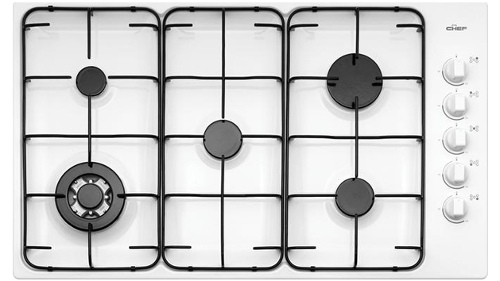 Chef GHC937W 90cm 5 Burner Gas Cooktop - White