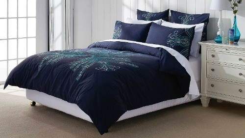 Illona Navy Double Quilt Cover Set