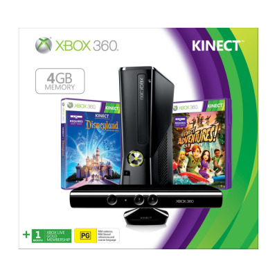 Xbox 360 4GB Kinect Console With 2 Games