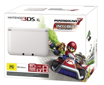 Nintendo 3DS XL Console White with Mario Kart 7