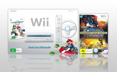 Wii Console White with Mario Kart and Gunblade NY / LA Machineguns