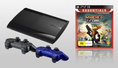 PlayStation 3 500GB Console with extra Dualshock Controller Blue and Ratchet and Clank Tools of Dest
