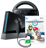 Wii Console Black with Mario Kart and Wii Wheel