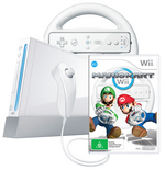 Wii Console White with Mario Kart and Wii Wheel