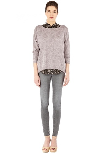Marl Slouch Button Back Jumper