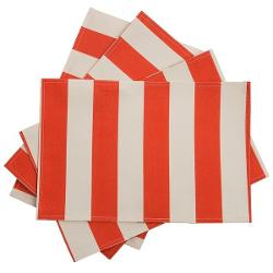 Waverly UV-Treated Water-Repellent Placemats - Set of 4 - CORAL STRIPE ( )