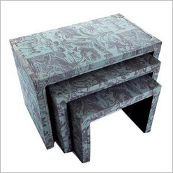 Pomp and Ceremony - Nest of Tables with Blue Floral Printed Linen (Set of 3) - Side/End Tables