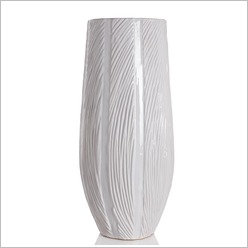 Stoneleigh & Roberson - Cylinder Vase with Wave Texture in White Size: 50cm - Vases & Urns