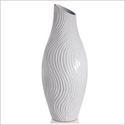 Stoneleigh & Roberson - Slanted Vase with Swirl Texture in White Size: 35.5cm - Vases & Urns