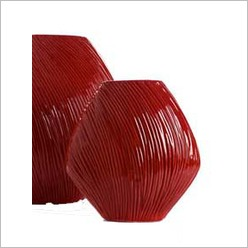 Stoneleigh & Roberson - Wavy Line Vase in Red Gloss - Vases & Urns