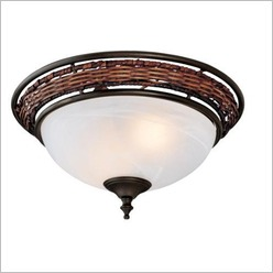 Hunter - Wicker Bowl with Weathered Bronze Finial and Fittings - Lighting Accessories