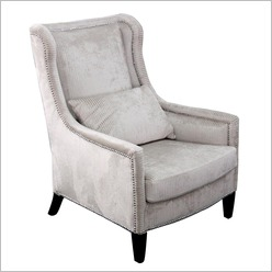 CAFE Lighting - Ethan Arm Chair in Taupe Stripe - Living Room Chairs