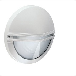 Boluce - Astra Round Outdoor Wall Light with Eyelid Finish: Silver, Globe Type: 2 x 9W TC G23 - Exterior Lighting