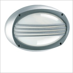 Boluce - Lem Oval Bunker Light with Grille Finish: Silver, Globe Type: 2 x 9W TC G23 - Exterior Lighting