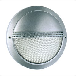 Boluce - Laser 27 cm Round Outdoor Wall Light with Eyelid Finish: Silver, Globe Type: 2 x 9W TC G23 - Exterior Lighting