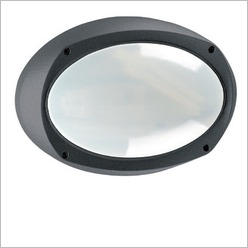 Boluce - Lem Oval Bunker Light Finish: Silver, Globe Type: 2 x 9W TC G23 - Exterior Lighting