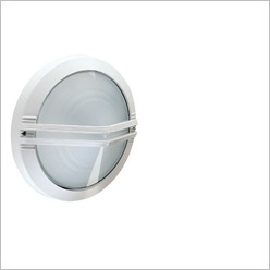 Boluce - Astra Round Outdoor Wall Light with Centre Grille Finish: White, Globe Type: 2 x 9W TC G23 - Exterior Lighting