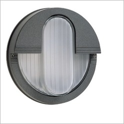 Boluce - Rem Round Bunker Light with Vertical Eyelid Finish: Anthracite, Globe Type: 2 x 9W TC G23 - Exterior Lighting