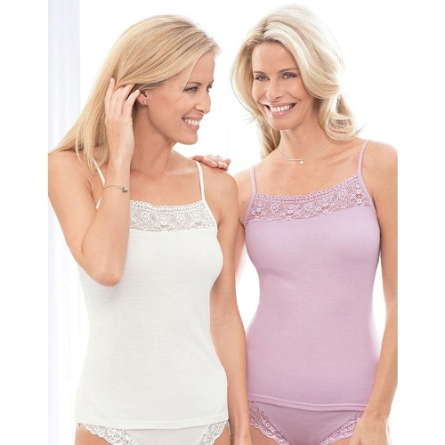 Feminine Touch Cami Twin Pack, Colour Smoke Blue, Size XL