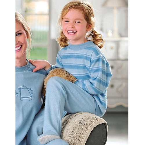 Children's Thermolactyl Fleece PJs, Colour Aqua, Size 01