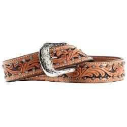 Ariat Western Scroll Belt - Leather (For Men) - SADDLE TAN ( )