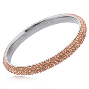 SOLID Steel and Crystal Bangle with Peach Crystals