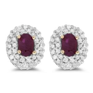 Created Ruby and 0.50 carat Diamond Earrings in 9ct YG