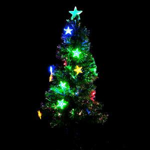 1.2m Multi Colour Fibreoptic Green Christmas Tree with LED Stars