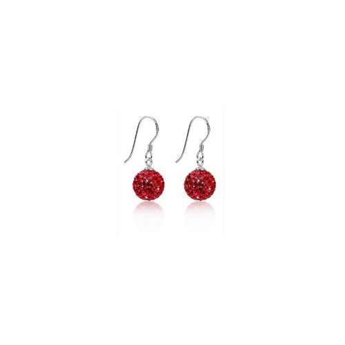 SOLID 925 Sterling Silver Red Crystal Ball Earrings