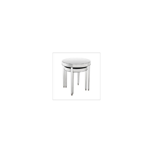Round Tables Clear Mirror Glass - Side/End Tables