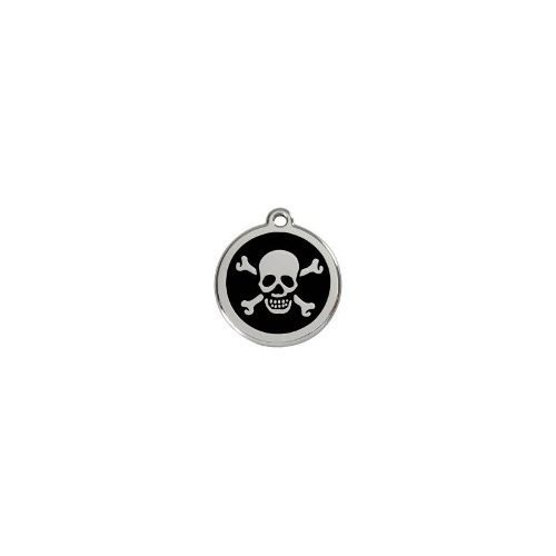 Stainless Steel ID-Tag Skull n Crossbones Black MED