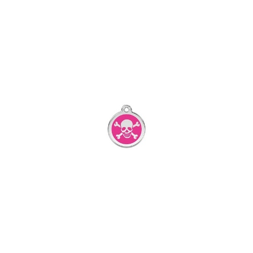 Stainless Steel ID-Tag Skull n Crossbones Hot Pink SML