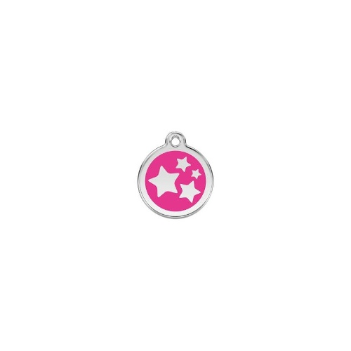 Stainless Steel ID-Tag Star Hot Pink MED