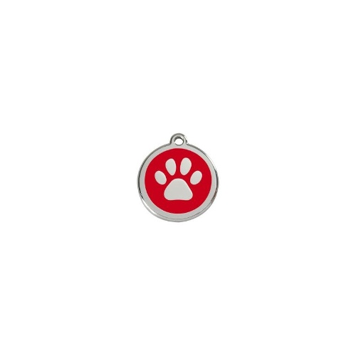 Stainless Steel ID-Tag Paw Print Red MED