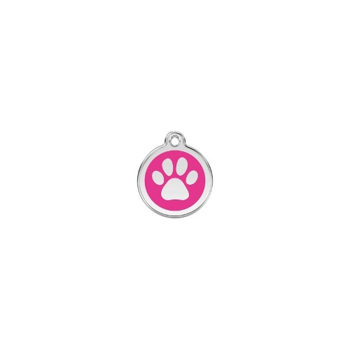 Stainless Steel ID-Tag Paw Print Hot Pink MED