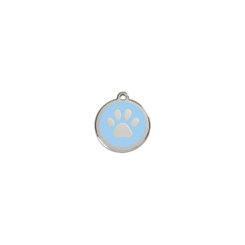 Stainless Steel ID-Tag Paw Print Light Blue MED