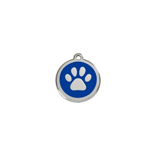 Stainless Steel ID-Tag Paw Print Navy LGE