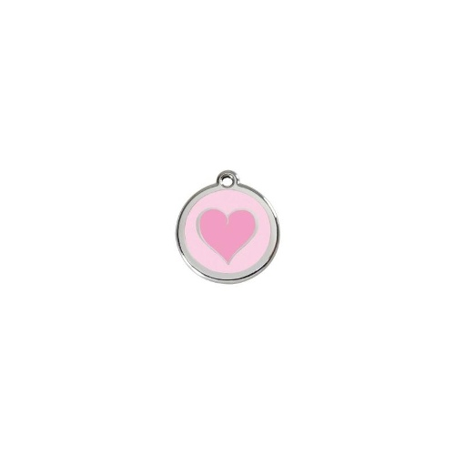 Stainless Steel ID-Tag Coloured Heart Pink MED