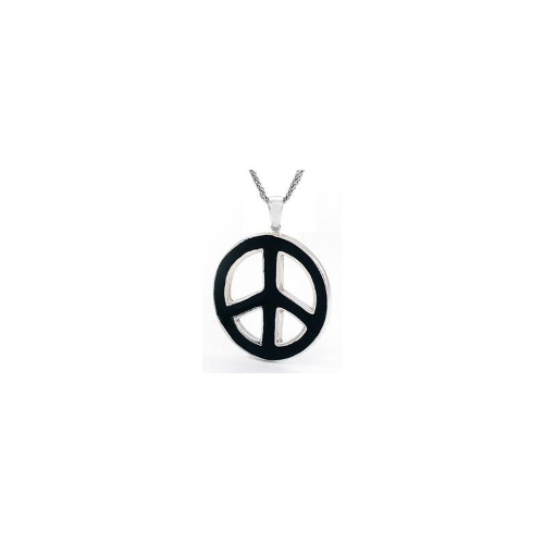 Sterling Silver Black Enamel Peace-Sign Pendant