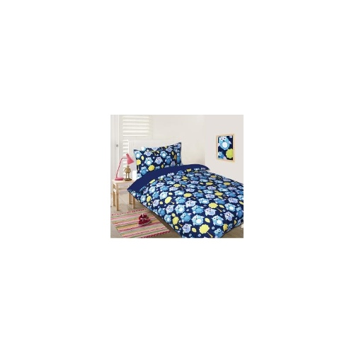Single Bed 5 Pc Bed Bundle Set -Owls Blue