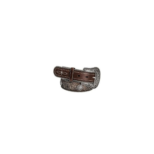 Roper Rose Inlay Belt - Distressed Leather (For Women) - BROWN ( XL )