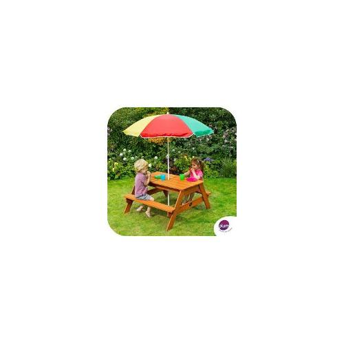 Plum Picnic Table with Parasol