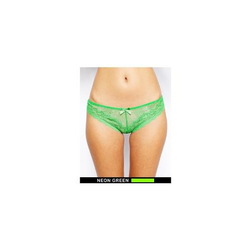 ASOS Mix and Match Linear Lace Brazilian Brief - Bright green