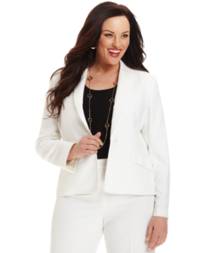 Kasper Plus Size Jacket, Single-Button Blazer