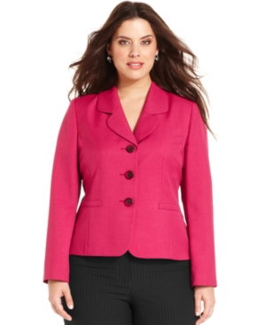 Le Suit Plus Size Jacket, Three-Button Blazer