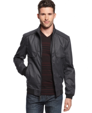 Alfani Jacket, Lightweight Textured Bomber Jacket